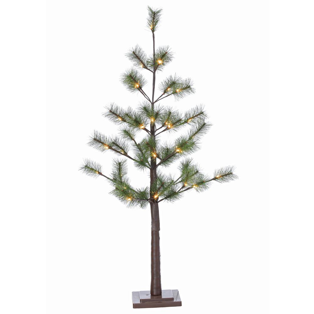 STERLING 4 ft. Indoor Pre-Lit Pine Needle Artificial Christmas Tree ...