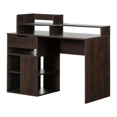 Holland Brown Oak Desk with Hutch and Storage
