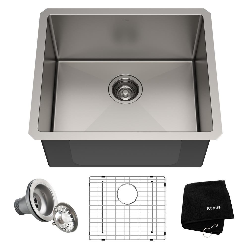 KRAUS Standart PRO Undermount Stainless Steel 21 in. Single Bowl Kitchen Sink