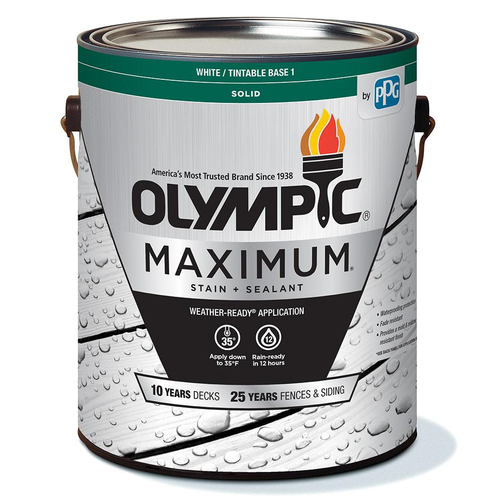 Olympic Maximum 1 gal. White/Base 1 Solid Color Exterior Stain and Sealant in One