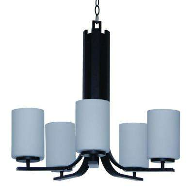 Christine Family 5-Light Ebony Bronze Hanging Chandelier with Dove White Glass Shade
