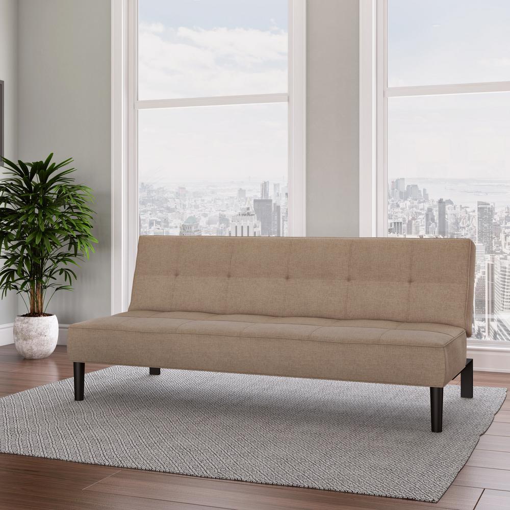 Yorkton Cinnamon Beige Convertible Futon Sofa Bed with Textured Mattress
