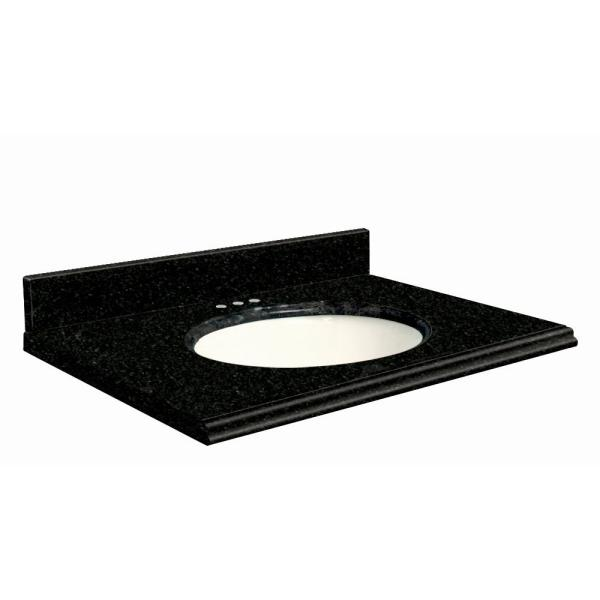 31 in. W x 22 in. D Granite Vanity Top in Absolute Black with White Basin