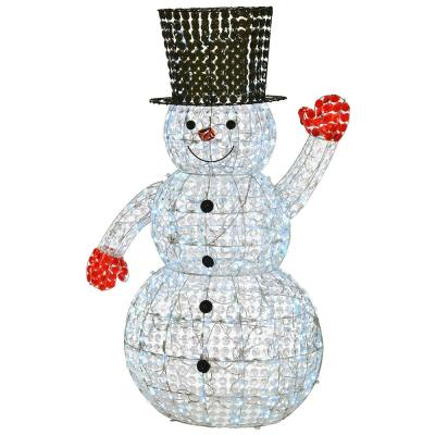 60 in. White Ice Crystal Bead Snowman with 240 Cool LED Lights