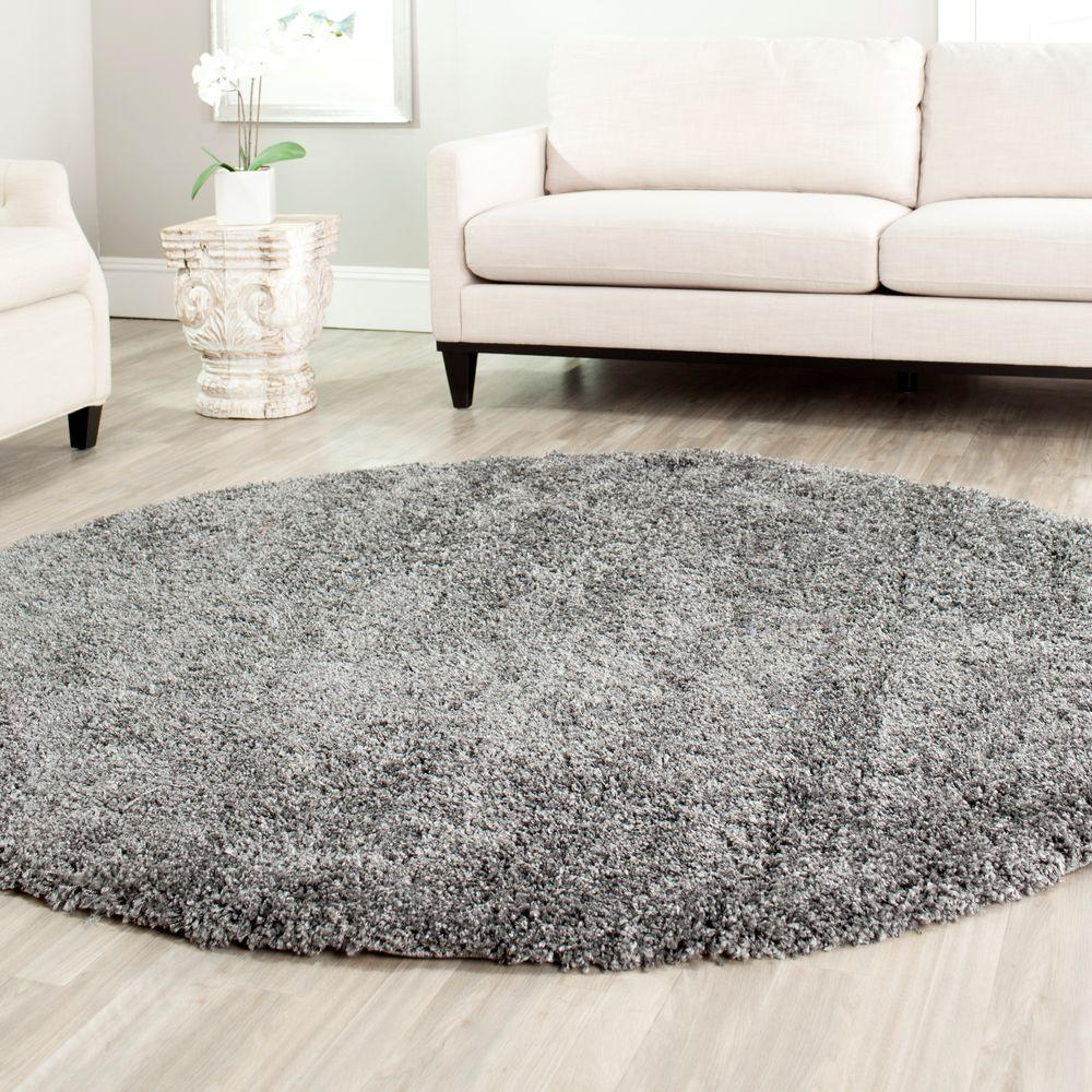 Safavieh California Shag Dark Gray 8 Ft. 6 In. X 8 Ft. 6 In. Round Area Rug SG151 8484 9R    The Home Depot
