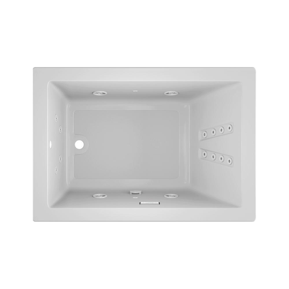 JACUZZI SOLNA 60 in. x 42 in. Acrylic Rectangular Drop-in Reversible Whirlpool Bathtub in White