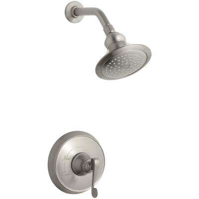 Revival 1-Spray  6.5 in. 2.5 GPM Fixed Shower Head with Scroll Lever Handle in Brushed Nickel