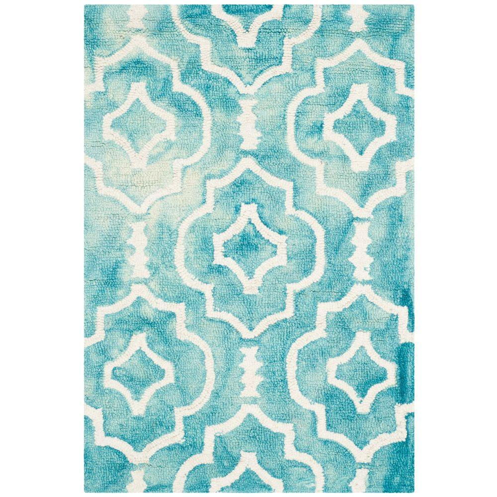 San Juan Turquoise Accent Rug: Safavieh Dip Dye Turquoise/Ivory 2 Ft. X 3 Ft. Area Rug
