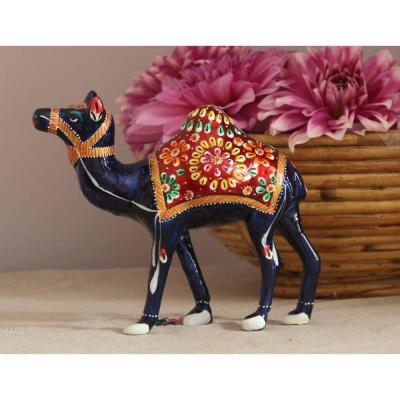 Decorative Camel Multi-Color Wood and Metal Handmade Statue