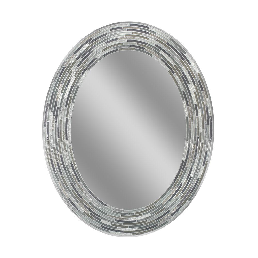 Deco Mirror 29 in. L x 23 in. W Reeded Charcoal Oval Tiles Wall Mirror