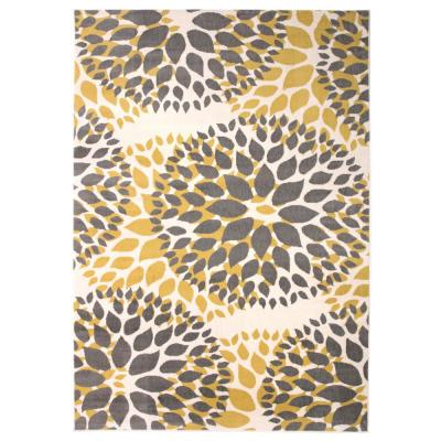 Modern Contemporary Floral Circles Yellow 7 ft. 6 in. x 9 ft. 5 in. Indoor Area Rug