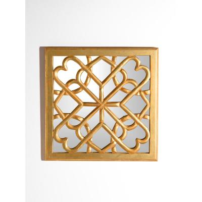 Decorative Square Mirror Wall Panel with Gold Wooden Overlay