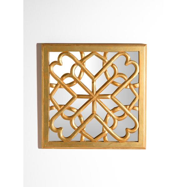 Best Home Fashion Decorative Square Mirror Wall Panel With Gold Wooden Overlay Mirror Rr07 Golden The Home Depot