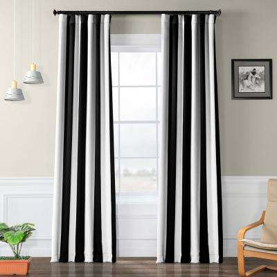 Semi-Opaque Awning Black & Fog White Stripe Blackout Curtain - 50 in. W x 120 in. L (Panel)