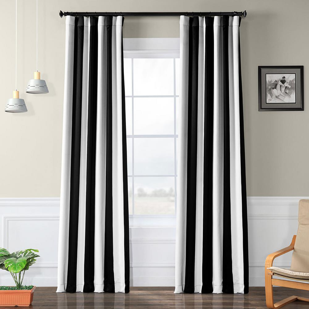 Exclusive Fabrics & Furnishings Semi-Opaque Awning Black and White Stripe Blackout Curtain - 50 in. W x 120 in. L (Panel)