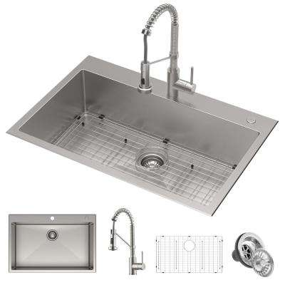 Loften Center All-in-One Dual Mount Stainless Steel 33 in. 2-Hole Single Bowl Kitchen Sink with Pull Down Faucet