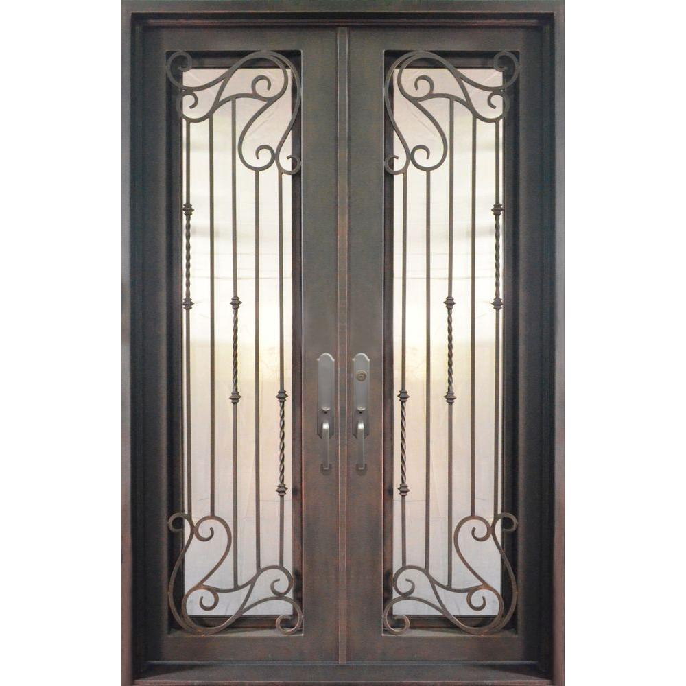 Iron Doors Unlimited 74 in. x 98 in. Armonia Classic Full Lite Painted Antique Copper Decorative Wrought Iron Prehung Front Door