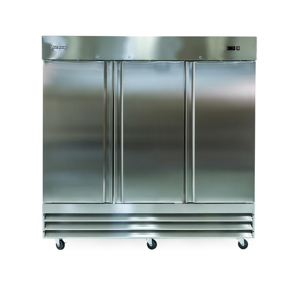 81 in. W 72 cu. ft. 3-Door Commercial Refrigerator in Stainless