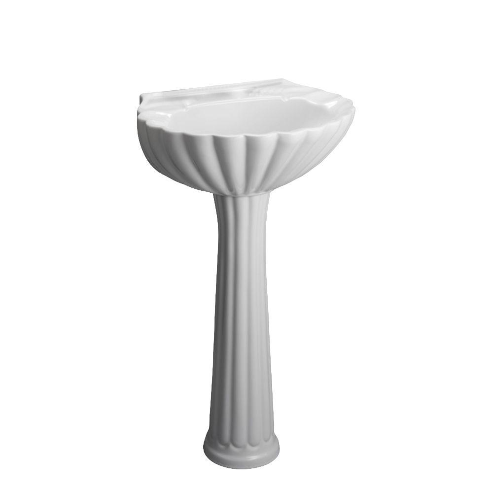 Pegasus Bali 19 In. Pedestal Combo Bathroom Sink For 4 In. Centerset In  White