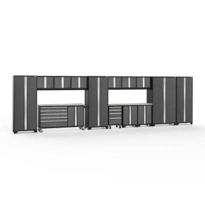 Bold 3.0 77.25 in. H x 276 in. W x 18 in. D 24-Gauge Welded Steel Garage Cabinet Set in Gray (15-Piece)