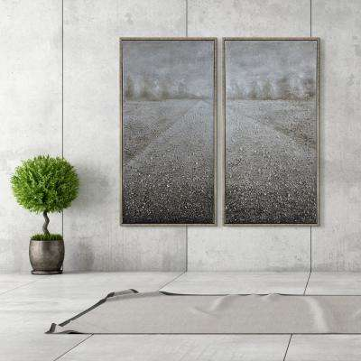 "48 in. x 24 in. ""Pebble Road"" - Set of 2 Textured Metallic Hand Painted by Martin Edwards Wall Art"