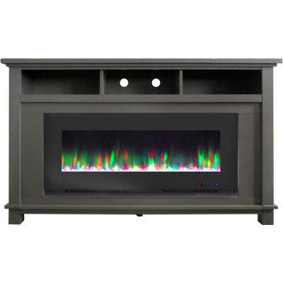 San Jose 58 in. Freestanding Electric Fireplace Entertainment Stand in Gray with 50 in. Insert and Crystal Rock Display