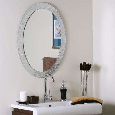 31.5 in. x 23.6 in. Oval Frameless Crystal Wall and Bathroom Mirror with Polished Edge