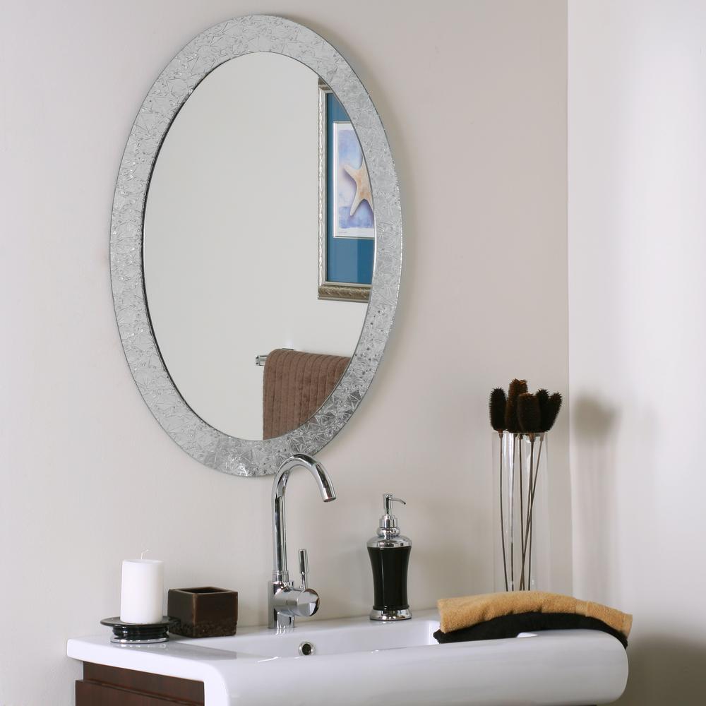 24 in. W x 32 in. H Frameless Oval Bathroom Vanity Mirror in Silver