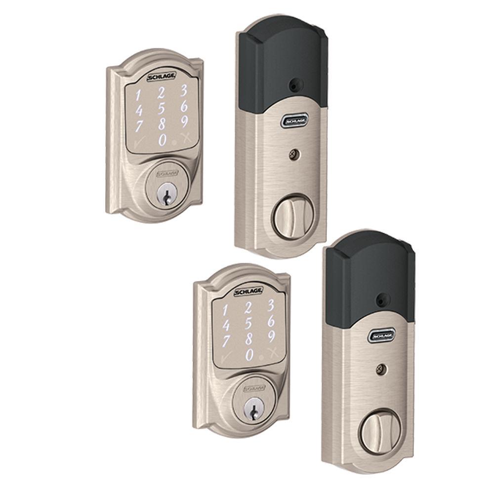 Camelot Satin Nickel Sense Smart Door Lock (2-Pack)
