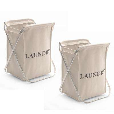 Natural Beige Folding Aluminum and Canvas Single X-Frame Laundry Sorter, 2-Pack