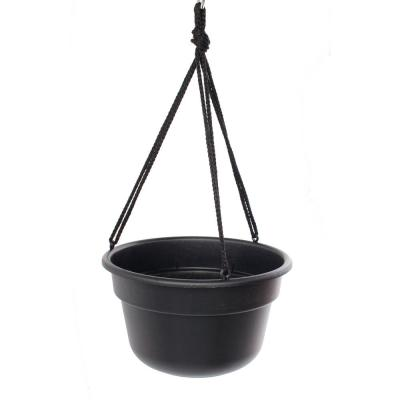 Dura Cotta 12 in. Black Plastic Self Watering Hanging Basket Planter