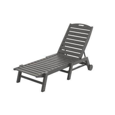 Nautical Slate Grey Wheeled Armless Plastic Outdoor Patio Chaise Lounge