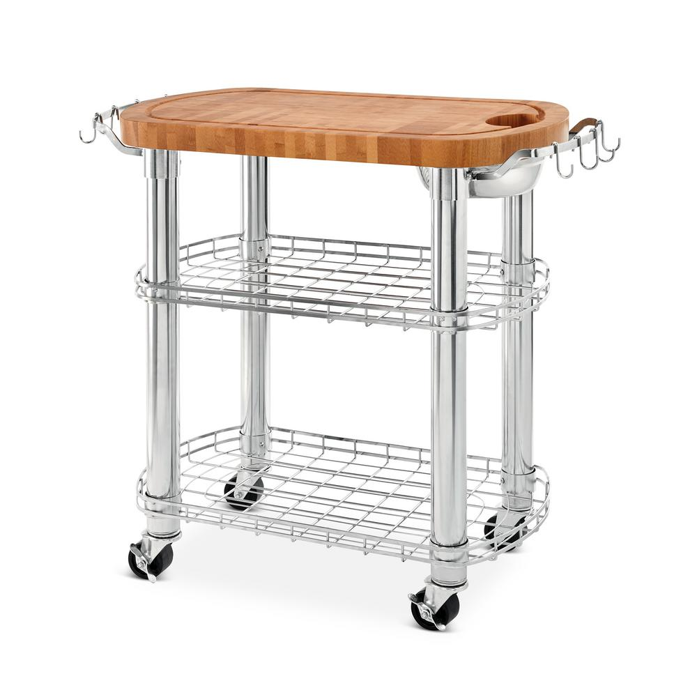 Seville Clics Natural Chrome Bamboo Rolling Butcher Block Top Oval Kitchen Island Cart With Storage
