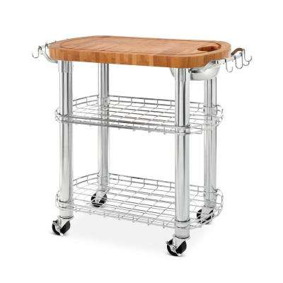 Natural Chrome Bamboo Rolling Butcher Block Top Oval Kitchen Island Cart with Storage
