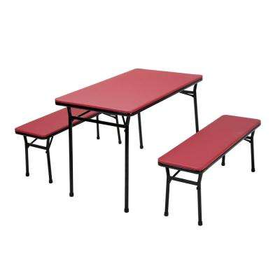 3-Piece Red Folding Table and Bench Set