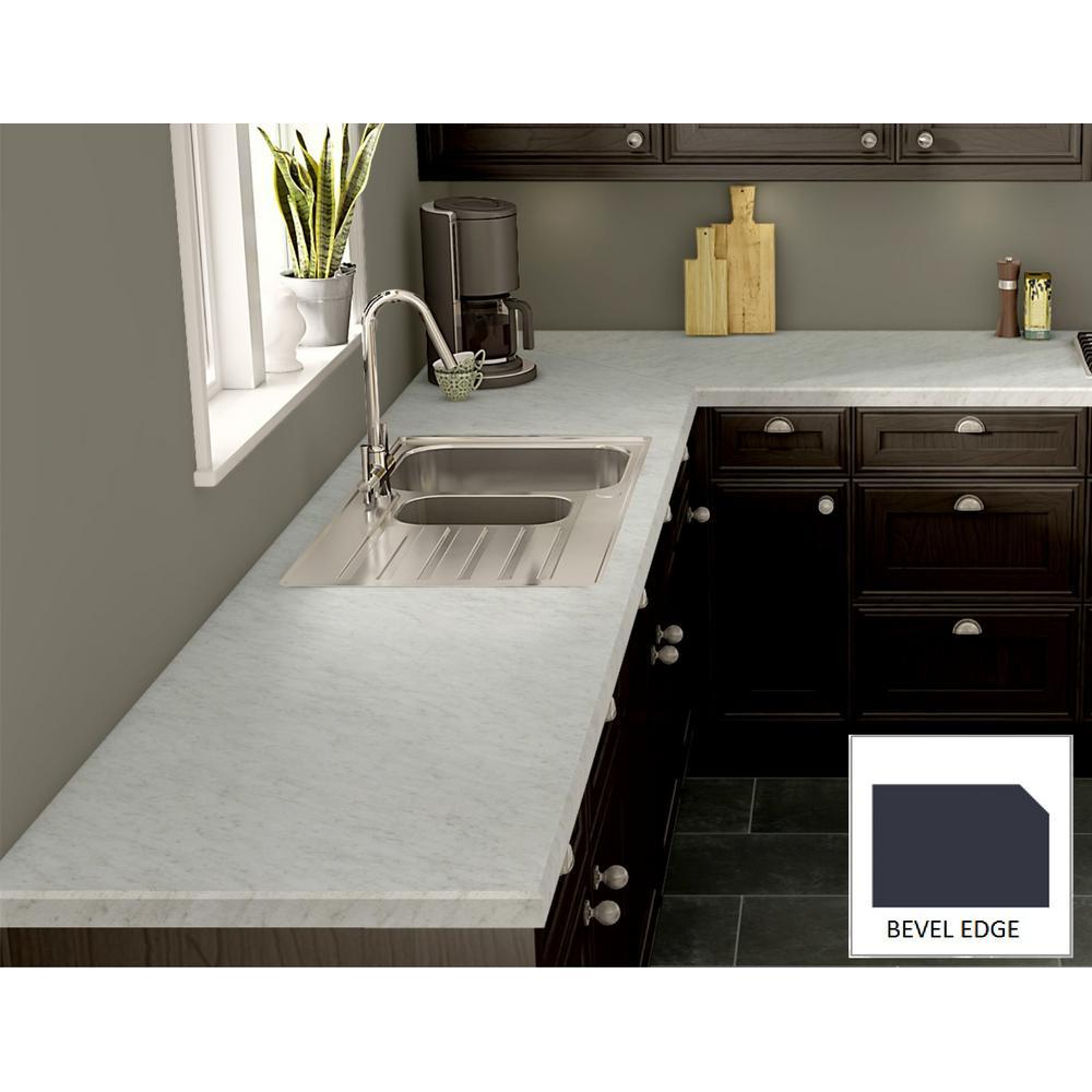 Wilsonart White Carrara Laminate Custom Bevel Edge C F B144492438 The Home Depot