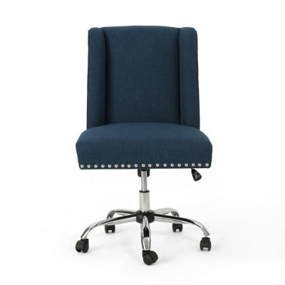 Chiara Navy Blue Fabric Home Office Desk Chair with Stud Accents