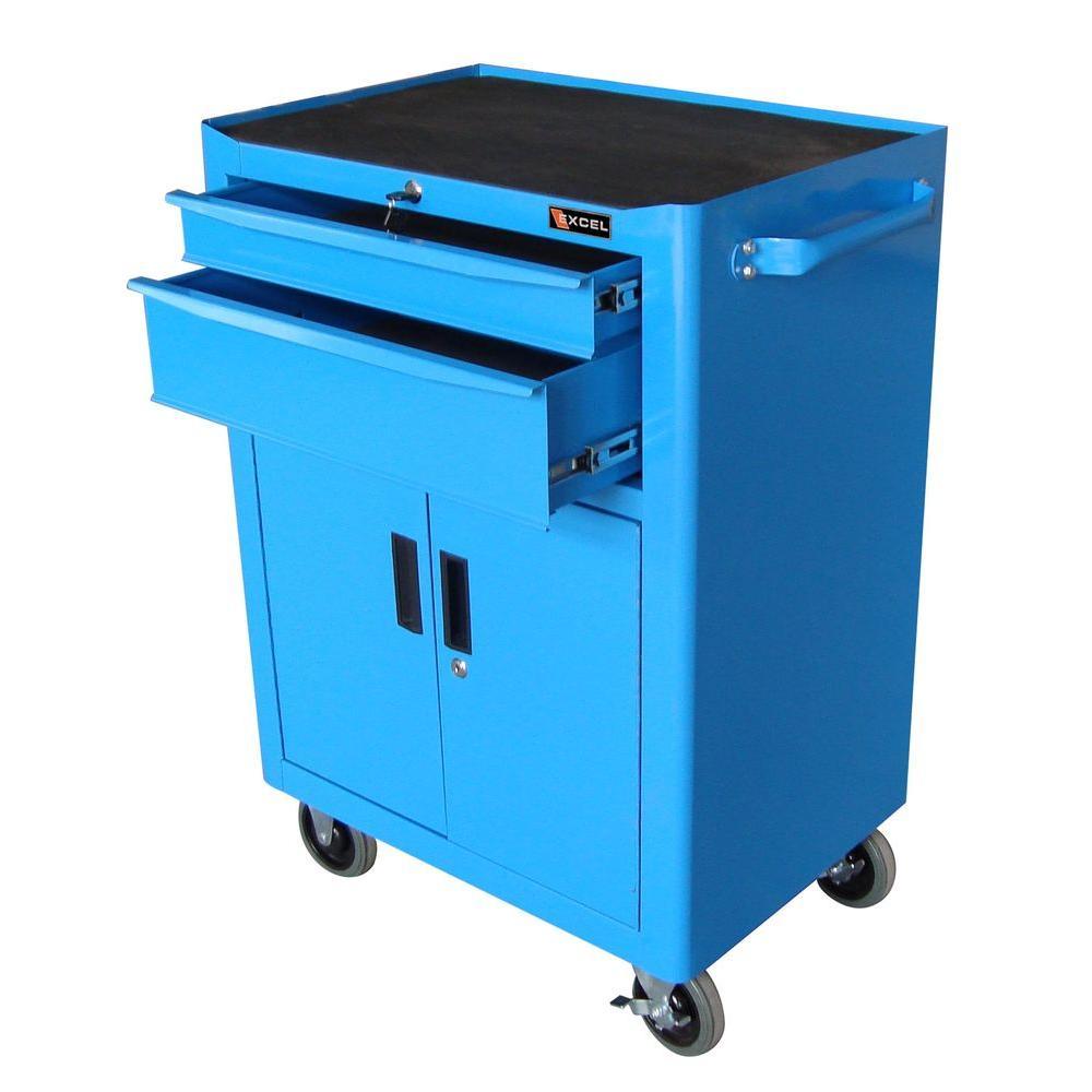 Steel Roller Cabinet, Blue, 25.8 in. W x 17.8 in. D x 37.2 in. H