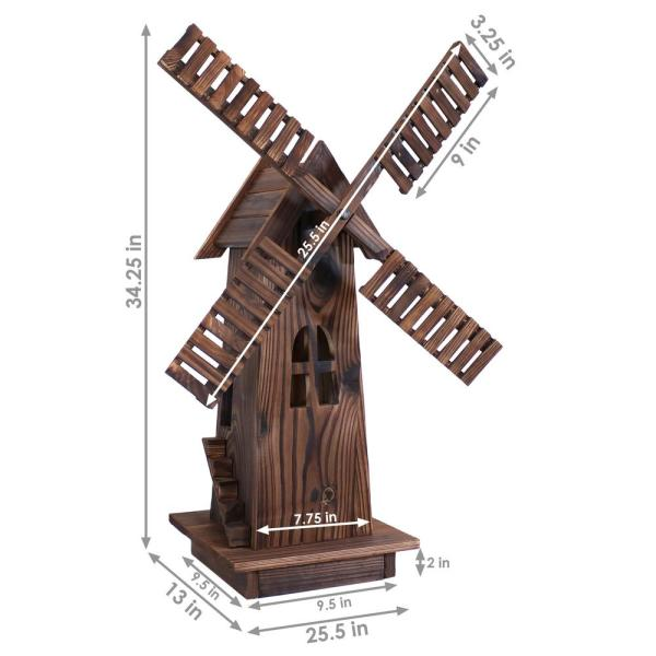 Sunnydaze Decor 34 In Wood Decorative Outdoor Lawn Decor Dutch Windmill Dsl 260 The Home Depot