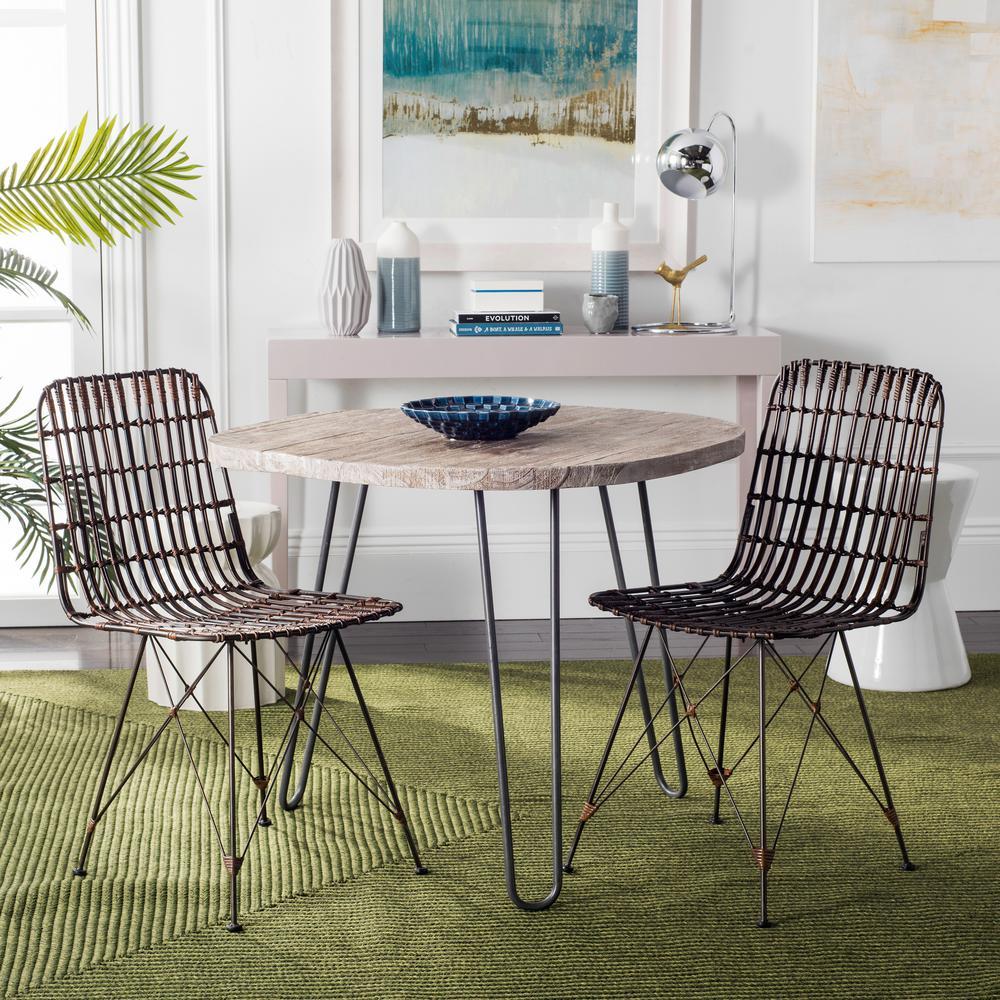 Safavieh Minerva Croco Brown Wicker Dining Chair (Set of 2) WIK6510A-SET2