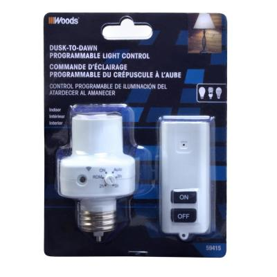 2-5-8 Hour Photocell Control Light Socket Timer with Wireless Remote Control, White
