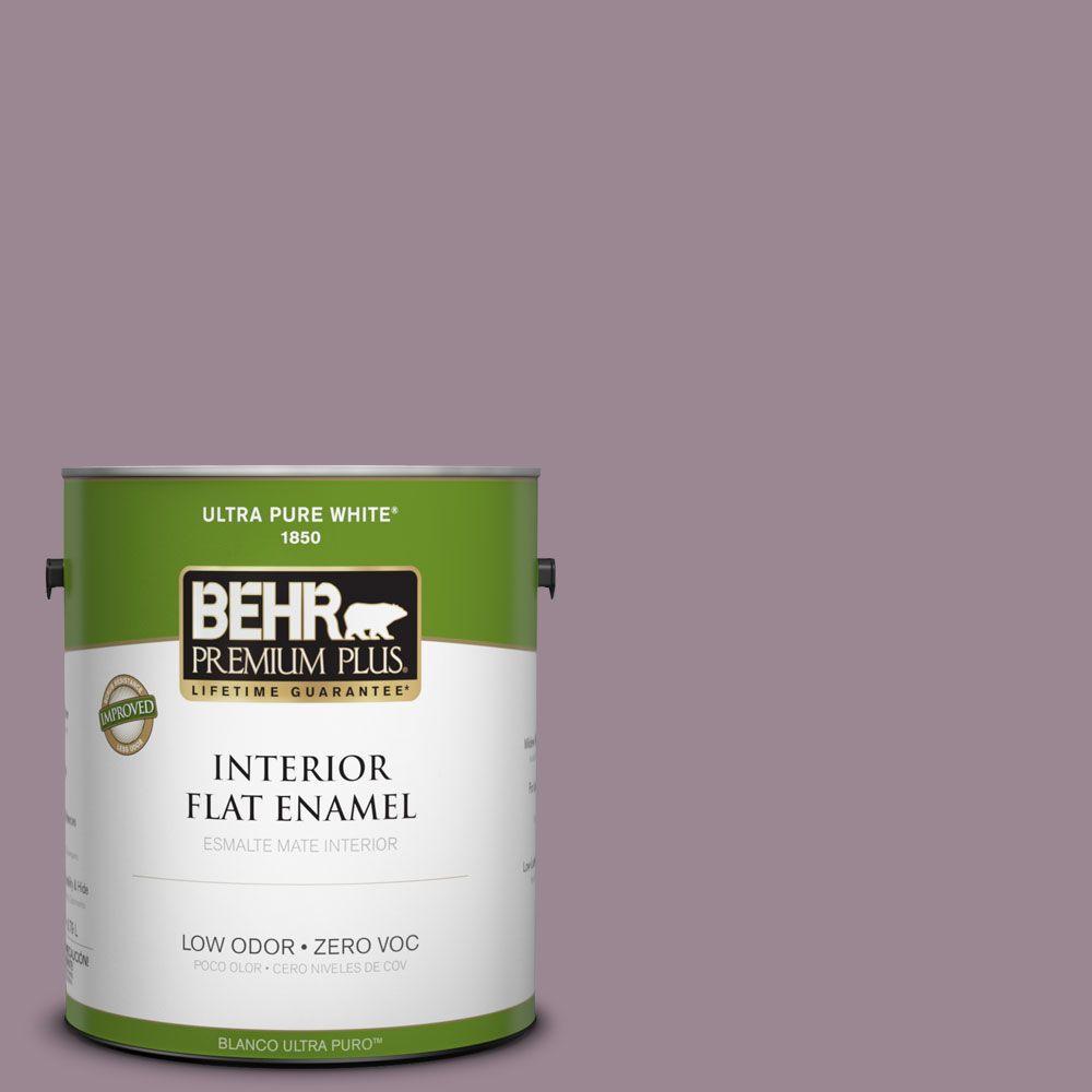 BEHR Premium Plus 1-gal. #690F-5 Purple Mauve Zero VOC Flat Enamel Interior Paint-DISCONTINUED