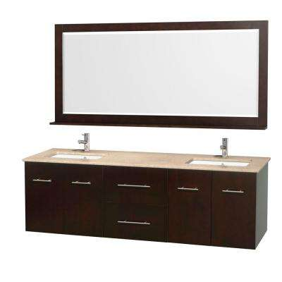 Centra 72 in. Double Vanity in Espresso with Marble Vanity Top in Ivory and Under-Mount Sink