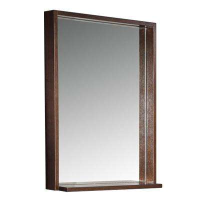 Allier 22 in. W x 31.50 in. H Framed Wall Mirror with Shelf in Wenge