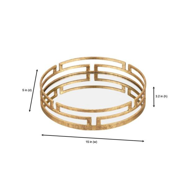 Home Decorators Collection - Home Decorators Collection Gold Metal Decorative Round Mirror Tray