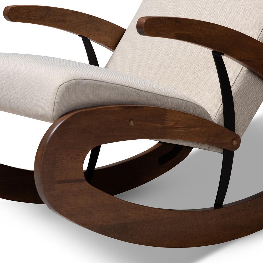 Super Baxton Studio Kaira Light Beige And Walnut Fabric Rocking Short Links Chair Design For Home Short Linksinfo