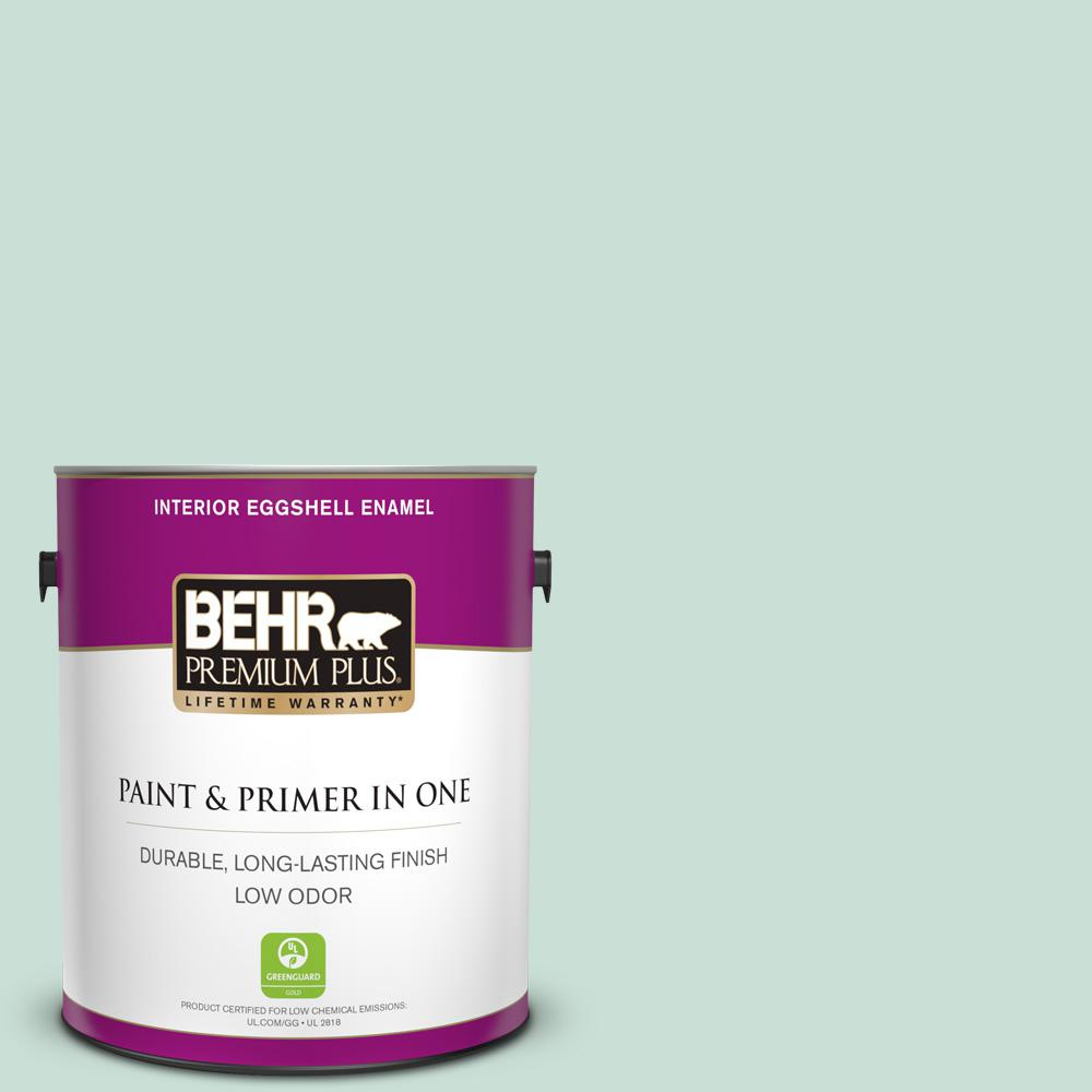 BEHR Premium Plus 1 gal. #M430-2 Ice Rink Eggshell Enamel Low Odor Interior Paint and Primer in One