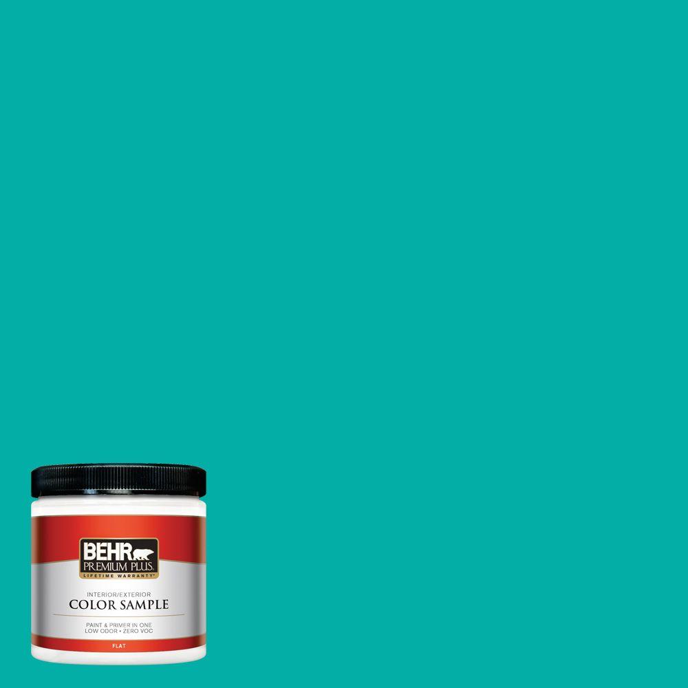 8 oz. #490B-5 Cozumel Flat Zero VOC Interior/Exterior Paint and Primer