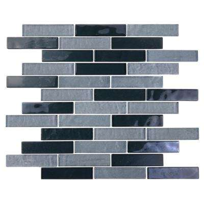Landscape Goby Gray Linear Mosaic 1 in. x 4 in. Textured Glass Wall Pool and Floor Tile (1.04 Sq. ft.)