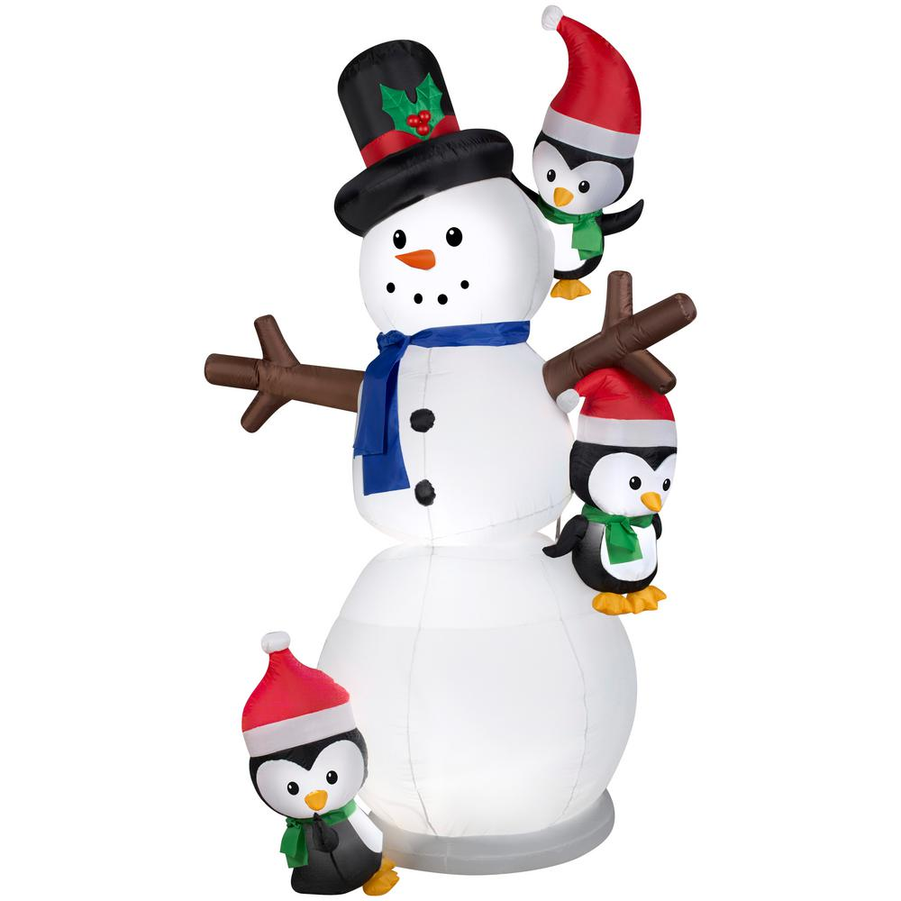 Gemmy 7 ft. Inflatable Animated Swaying Snowman with Penguins-G ...